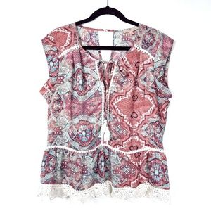 Gibson Latimer Feminine Boho Lace Trim Top